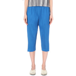 Wide-leg cropped pleated trousers