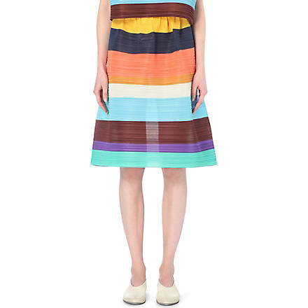 Pleats Please Issey Miyake: Striped pleated skirt - Hiphunters Shop