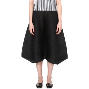 Cropped wide-leg pleated trousers