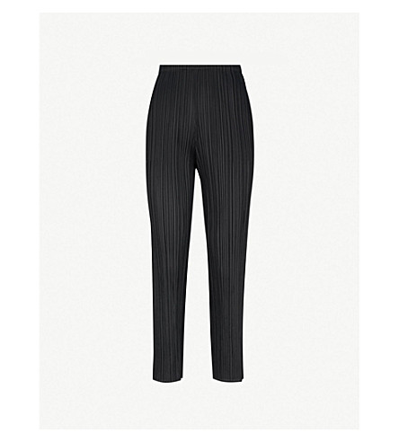 PLEATS PLEASE ISSEY MIYAKE Cropped slim pleated trousers (Black