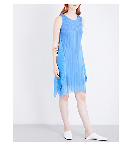 PLEATS PLEASE ISSEY MIYAKE Curved pleated mini dress (Blue
