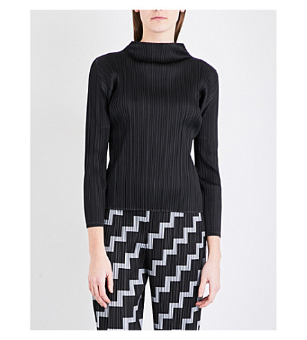PLEATS PLEASE ISSEY MIYAKE High neck pleated top (Black