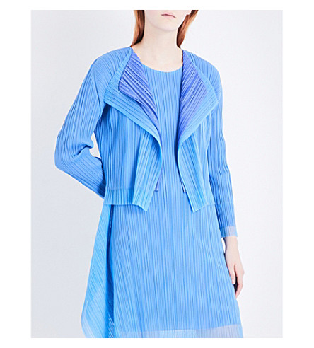 PLEATS PLEASE ISSEY MIYAKE Tulle-panelled pleated cardigan (Blue