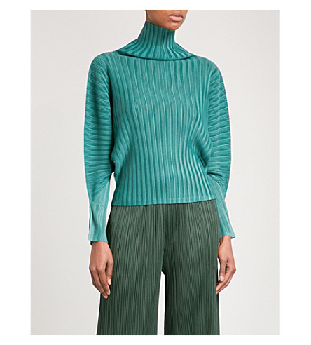 PLEATS PLEASE ISSEY MIYAKE Rib Pleats high-neck pleated top (Green