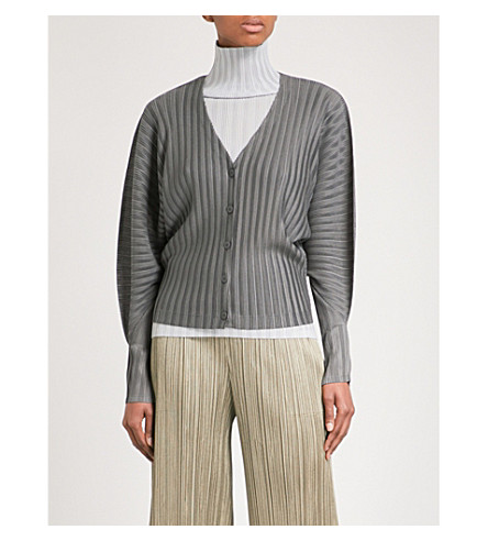 PLEATS PLEASE ISSEY MIYAKE Rib Pleats pleated cardigan (Gray
