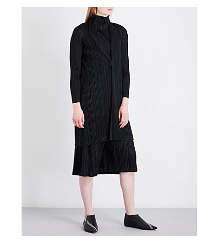 PLEATS PLEASE ISSEY MIYAKE Duster single-breasted pleated coat (Black