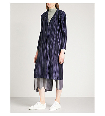 PLEATS PLEASE ISSEY MIYAKE Kirakira pleated cardigan (Navy