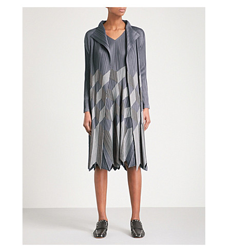 PLEATS PLEASE ISSEY MIYAKE Geometric patchwork pleated cardigan (Ash+gray