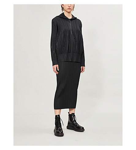 PLEATS PLEASE ISSEY MIYAKE Fluffy Basic pleated hoody (Black