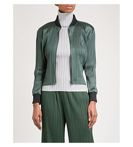 PLEATS PLEASE ISSEY MIYAKE Cropped pleated bomber jacket (Forest+green