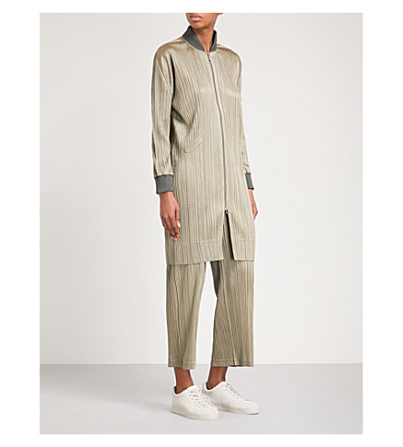 PLEATS PLEASE ISSEY MIYAKE Longline pleated bomber jacket (Shadow+beige