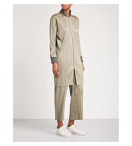PLEATS PLEASE ISSEY MIYAKE Longline pleated bomber jacket (Shadow+beige