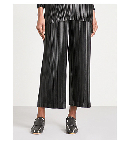 PLEATS PLEASE ISSEY MIYAKE Kirakira wide cropped pleated trousers (Black