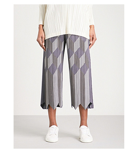 PLEATS PLEASE ISSEY MIYAKE Geometric patchwork wide cropped pleated trousers (Ash+gray