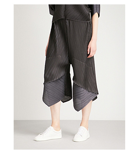 PLEATS PLEASE ISSEY MIYAKE Mirror wide-leg high-rise pleated trousers (Charcoal+gray