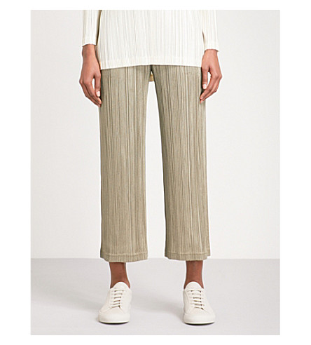 PLEATS PLEASE ISSEY MIYAKE Wide cropped high-rise pleated trousers (Shadow+beige