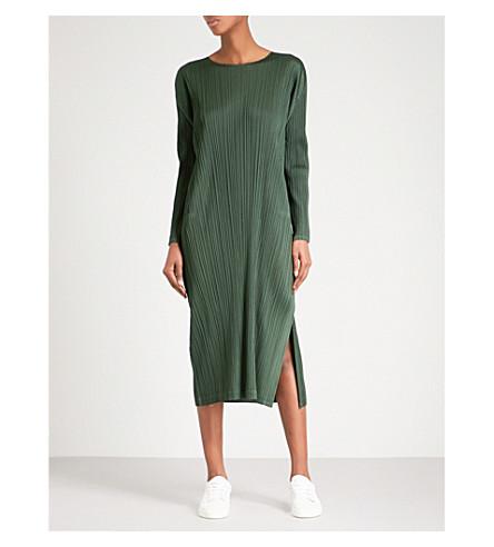 PLEATS PLEASE ISSEY MIYAKE Wide-hem pleated midi dress (Dark+green
