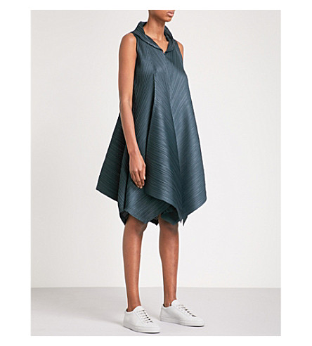 PLEATS PLEASE ISSEY MIYAKE Zigzag pleated dress (Midnight+green
