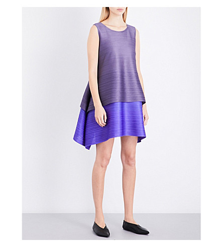 PLEATS PLEASE ISSEY MIYAKE Tiered pleated dress (Dove+gray