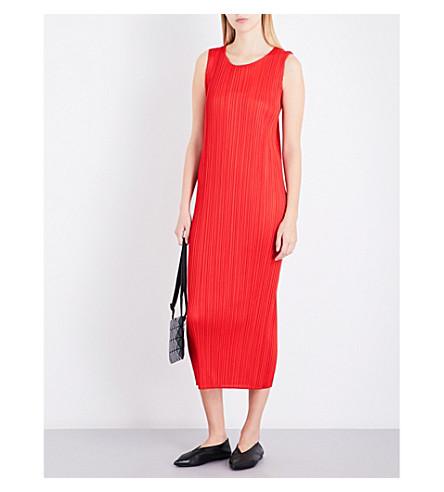 PLEATS PLEASE ISSEY MIYAKE Sleeveless pleated midi dress (Red