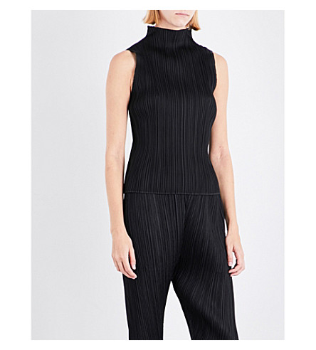 PLEATS PLEASE ISSEY MIYAKE Sleeveless high-neck pleated top (Black