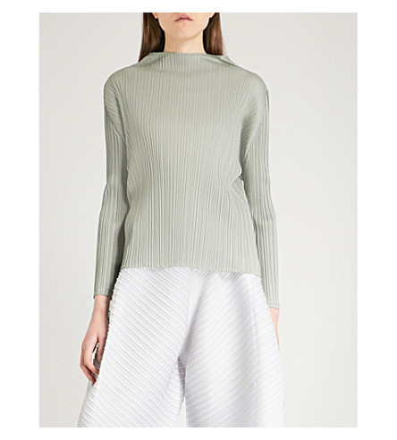 PLEATS PLEASE ISSEY MIYAKE High-neck pleated top (Ash+gray
