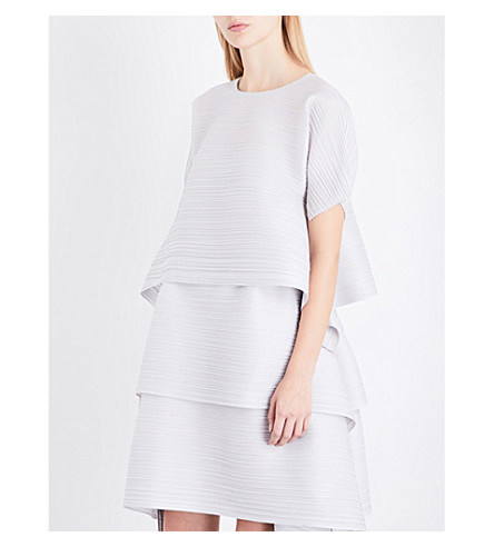 PLEATS PLEASE ISSEY MIYAKE Flared pleated top (Light+gray