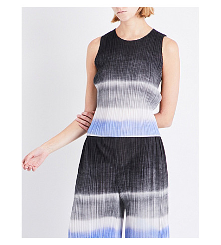 PLEATS PLEASE ISSEY MIYAKE Waterstripe sleeveless pleated top (Black