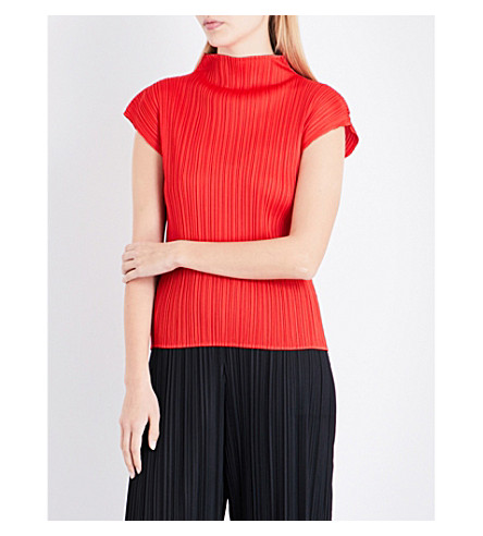 PLEATS PLEASE ISSEY MIYAKE High-neck pleated top (Red