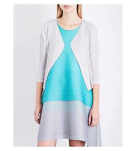 PLEATS PLEASE ISSEY MIYAKE Open-front pleated jacket (Light gray