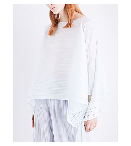 PLEATS PLEASE ISSEY MIYAKE Sheer Lace pleated tunic top (Ice white
