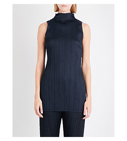 PLEATS PLEASE ISSEY MIYAKE High-neck sleeveless pleated top (Ink+navy