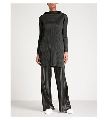 PLEATS PLEASE ISSEY MIYAKE High-neck pleated dress (Black
