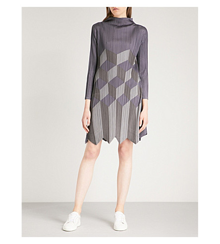 PLEATS PLEASE ISSEY MIYAKE Geometric patchwork pleated dress (Ash+gray