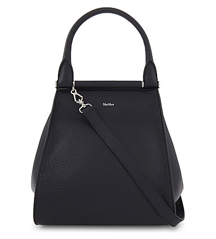MAX MARA Grained deer leather shoulder bag (Navy