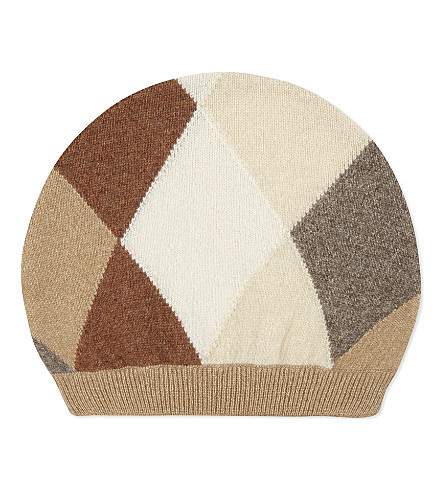 PRINGLE OF SCOTLAND Cashmere argyle beanie (Camel+variation