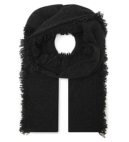 PRINGLE OF SCOTLAND Cashmere fringed scarf (Charcoal