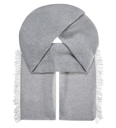PRINGLE OF SCOTLAND Cashmere fringed scarf (Light grey