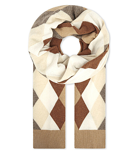 PRINGLE OF SCOTLAND Cashmere argyle scarf (Camel+variation