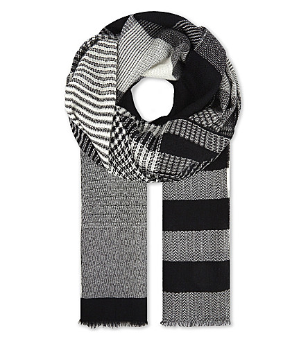PRINGLE OF SCOTLAND Patchwork scarf (Black/white