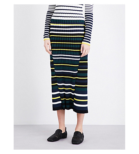 PRINGLE OF SCOTLAND Striped ribbed-knit midi skirt (Off white/ midnight