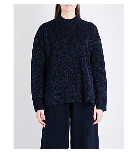 PRINGLE OF SCOTLAND Stepped-hem lurex knitted jumper (Midnight mel