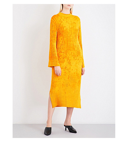 PRINGLE OF SCOTLAND Textured ribbed-knit midi dress (Egg+yolk