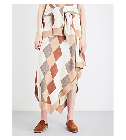 PRINGLE OF SCOTLAND Asymmetric-hem argyle cashmere skirt (Camel+variation