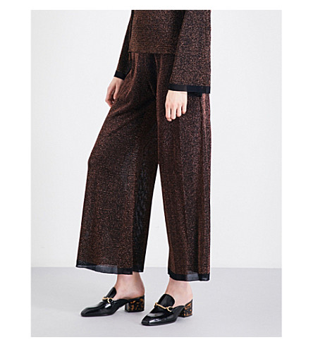 PRINGLE OF SCOTLAND Flared high-rise lurex knitted trousers (Bronze+melange