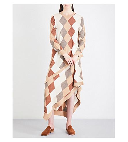 PRINGLE OF SCOTLAND Argyle waffle-knit cashmere jumper (Camel+variation
