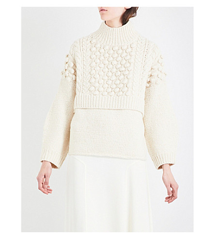 PRINGLE OF SCOTLAND High-neck cable-knit wool and cashmere jumper (Cream