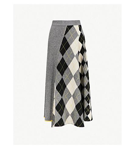 PRINGLE OF SCOTLAND Checked wool midi skirt (Grey+melange