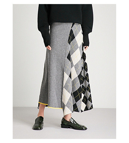 PRINGLE OF SCOTLAND Checked wool midi skirt (Grey+melange