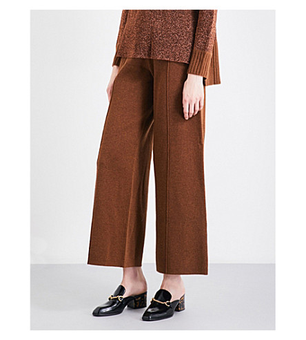 PRINGLE OF SCOTLAND Wide high-rise knitted trousers (Chestnut